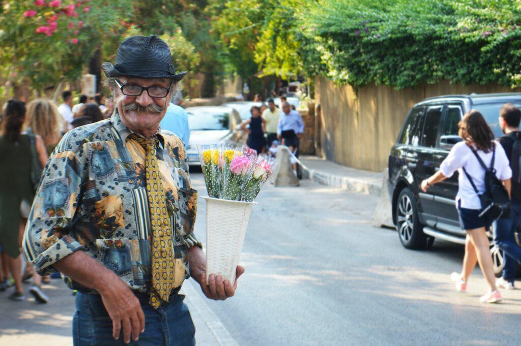 lebanese man holding flowers